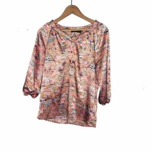 The Limited Business Casual Pink Patterned Blouse